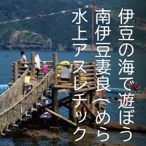 伊豆の海で遊ぼう!南伊豆 妻良(めら) 水上アスレチック  レベル:小学生以上向き